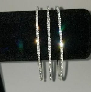 """""""New"""" 3pc Silver Cubic Bracelet Set"""